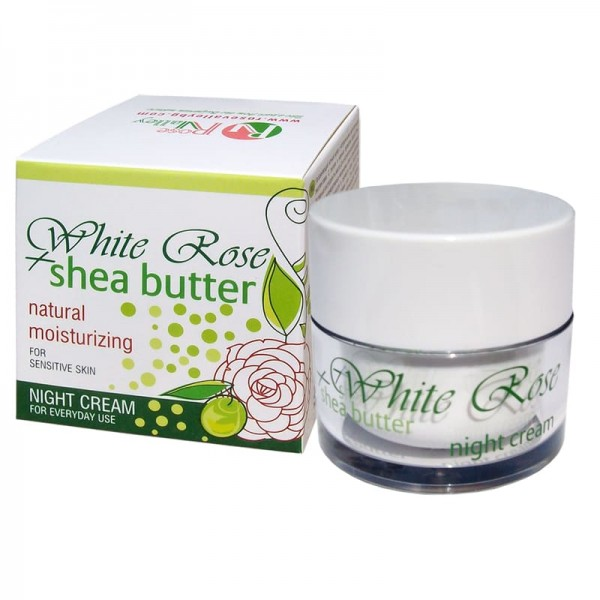 HYDRATING NIGHT CREAM WHITE ROSE & SHEA WITH BULGARIAN ROSE WATER 50 ML.
