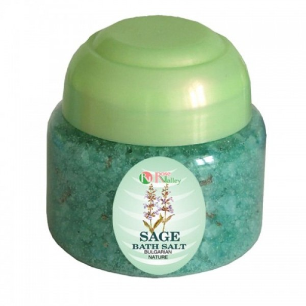 BATH SALTS WITH ESSENTIAL SAGE OIL - JAR 250 G.