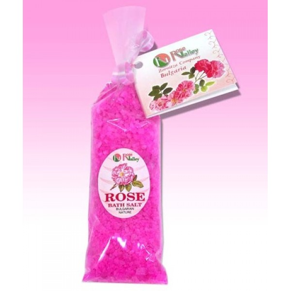 BATH SALTS WITH ROSE ESSENTIAL OIL - CARD 100 G.
