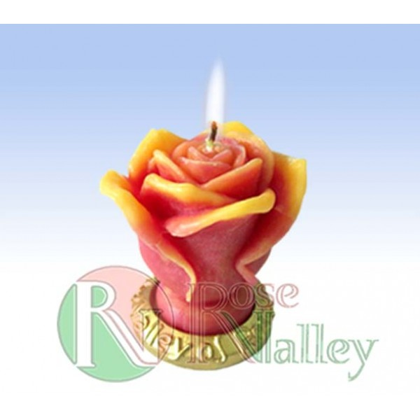 SCENTED CANDLE ROSE WITH BASE - LONG 80 G.