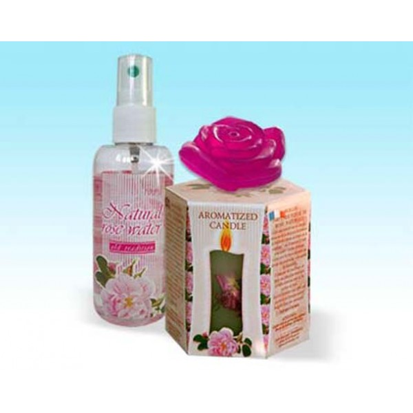 SPA SET - UTRO /CANDLE, ROSE WATER AND SOAP/